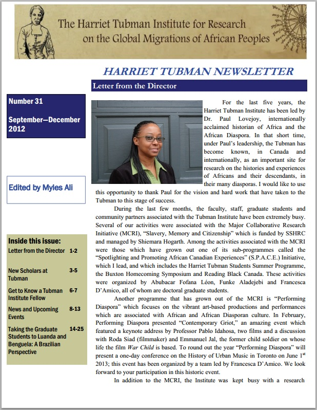 tubman newsletter