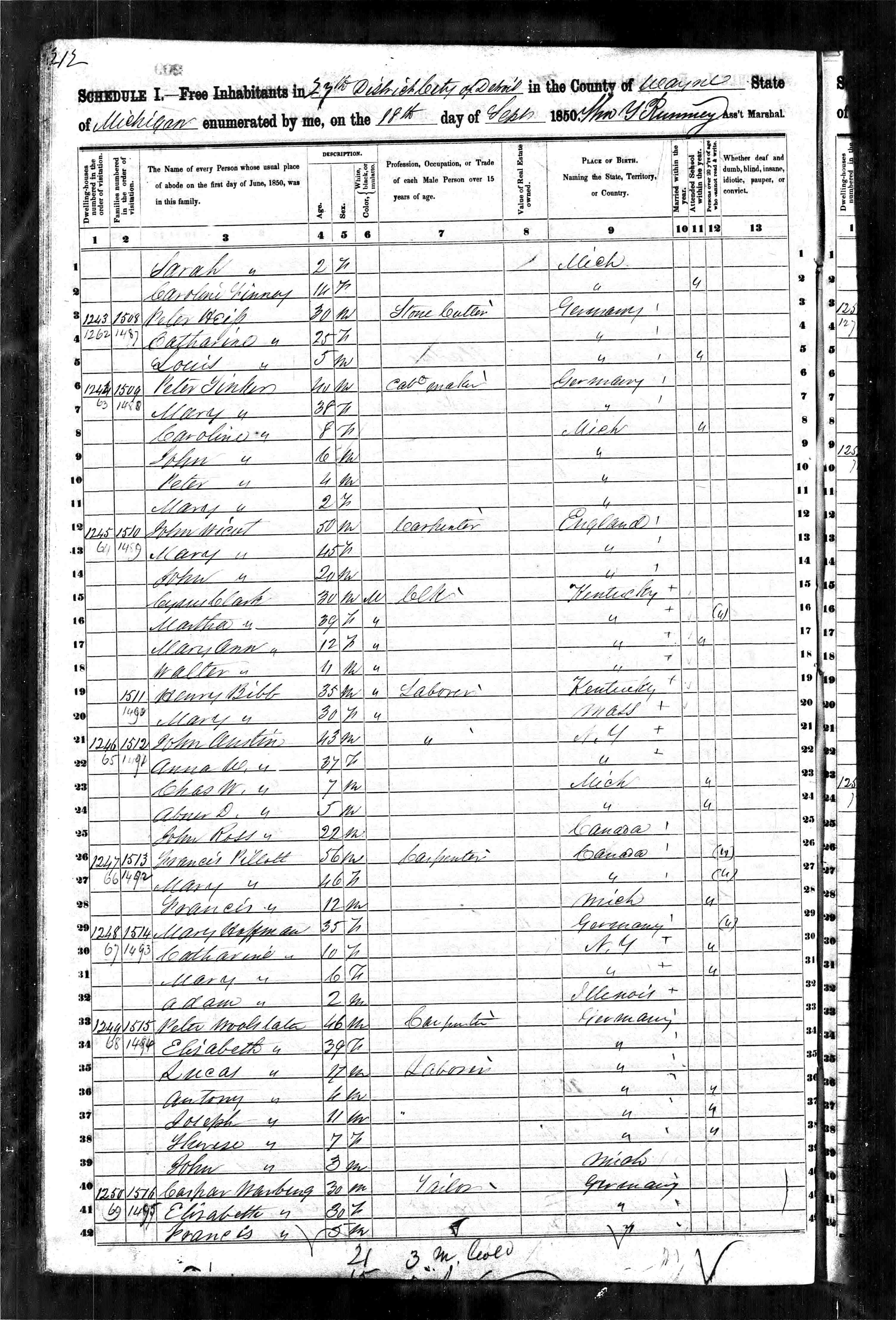 1851 census for Micigan Henry and Mary_0