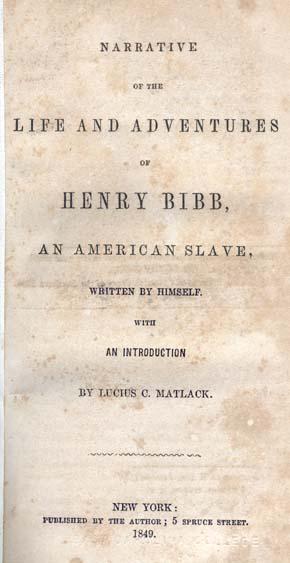 Title page Bibb's autobiography