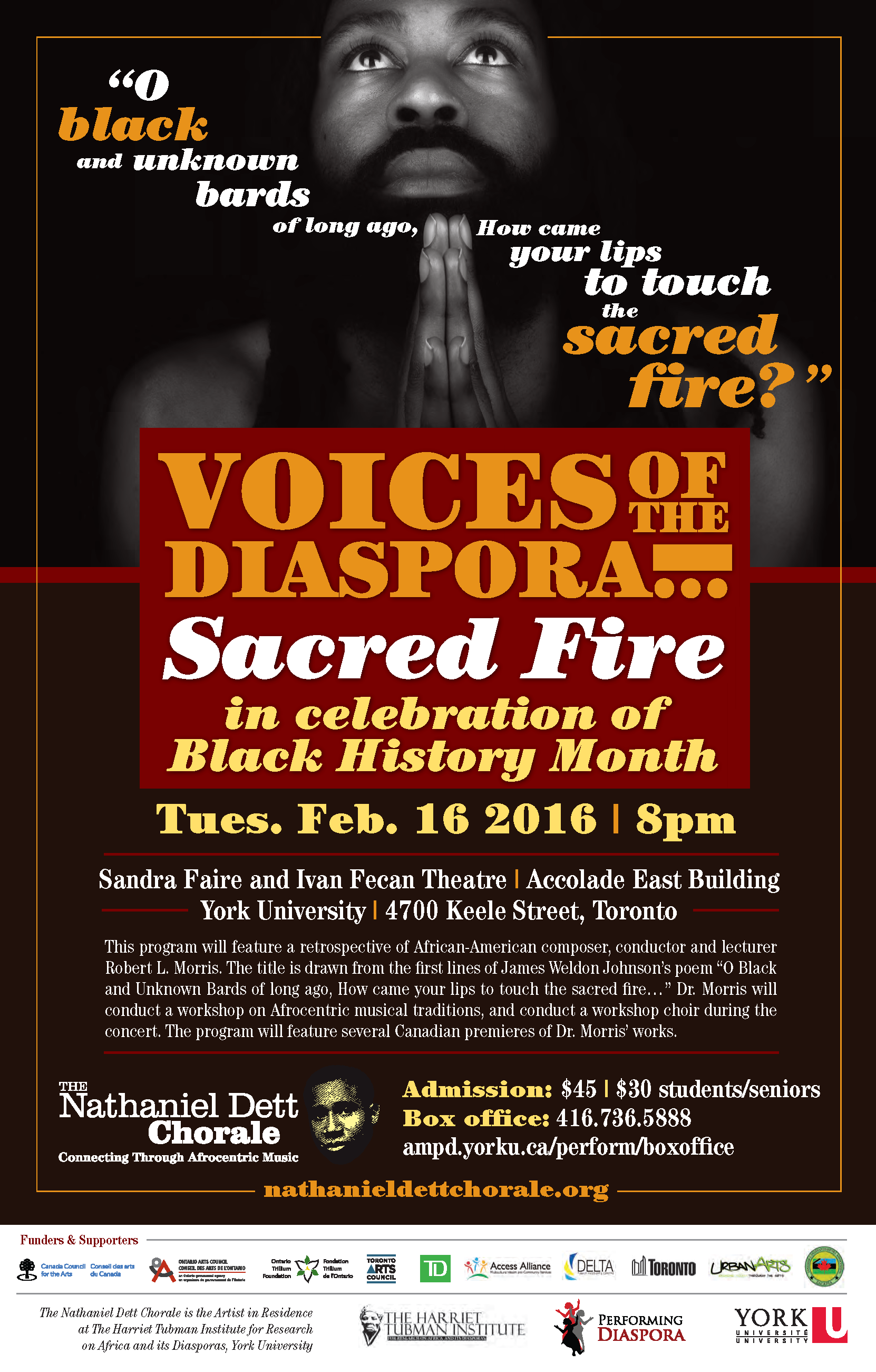 """Performing Diaspora: Black History Month Concert """"Sacred Fire"""" performed by the Nathaniel Dett Chorale @ Sandra Faire and Ivan Fecan Theatre"""