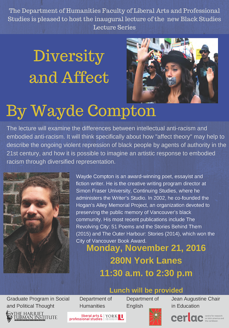 "Black Studies Lecture Series: ""Diversity and Affect"" by Wade Compton - 21 November 2016 @ 280 N York Lanes 