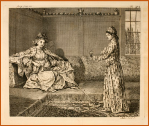 An aristocratic lady and her slave servant in mid-eighteenth-century Aleppo from Alexander Russell, The Natural History of Aleppo (1756), p. 100.