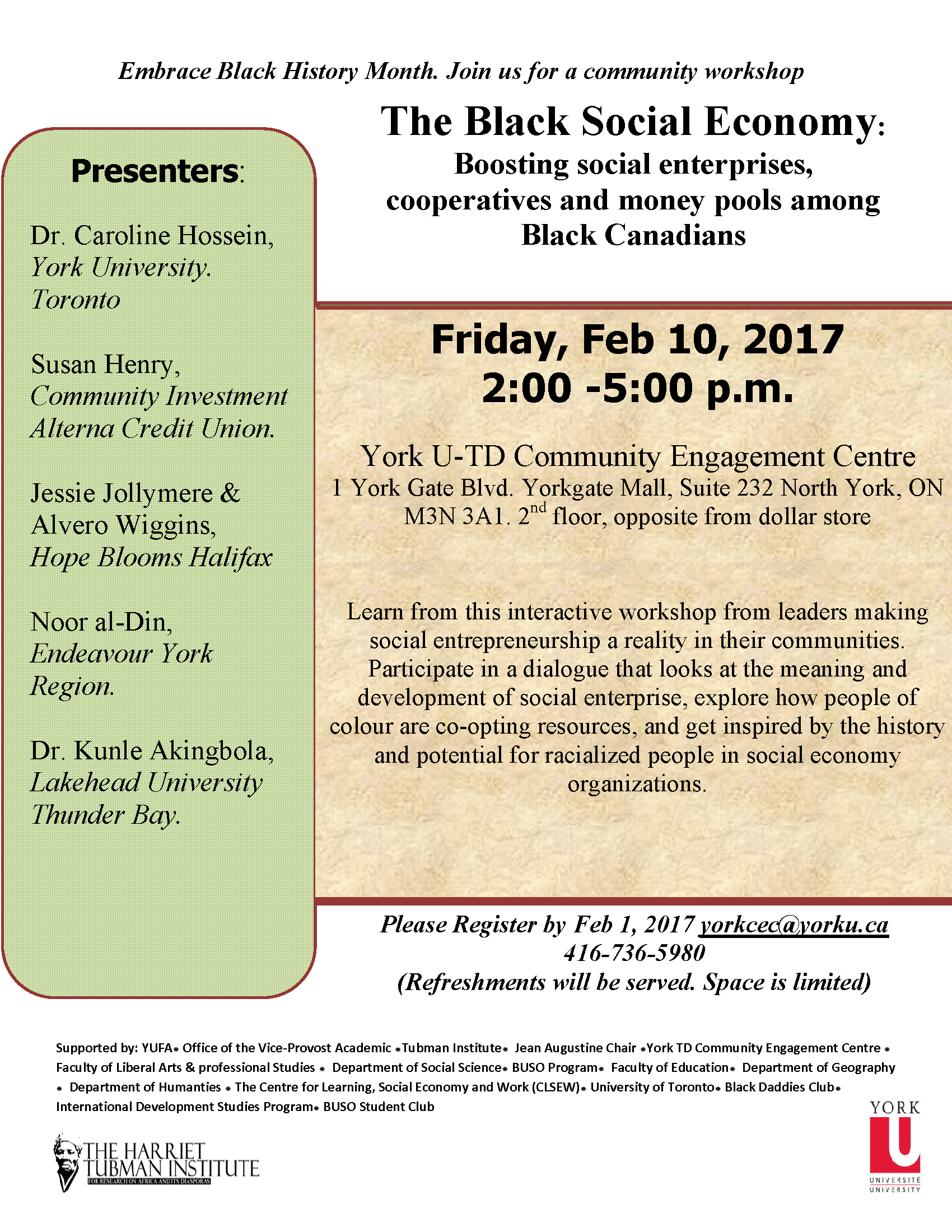 Workshop: The Black Social Economy @ York U-TD Community Engagement Centre, Suite 232 | Toronto | Ontario | Canada